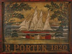 Porter 1820 Tavern Sign this would make a great primitive rug! Nautical Signs, Nautical Art, Antique Signs, Vintage Signs, Primitive Painting, Tole Painting, Primitive Signs, Primitive Decor, Art Populaire