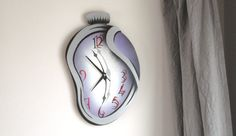 Items similar to Folding - Melting clock made of plywood on Etsy Melting Clock, Surreal Artwork, Acrylic Spray Paint, Plywood, Surrealism, Clocks, This Or That Questions, Handmade, Surreal Art