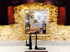 wine art and tropical landscape mosaic   kitchen backsplash installation. www.mosaicsyourway.com Wine Art, Tropical Landscaping, Kitchen Backsplash, Murals, Mosaic, Flooring, Landscape, Stone, Frame