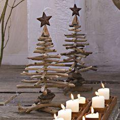 Weihnachtsbaum basteln Bastelideen mit Holz und Kerzen