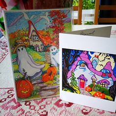 Set of Five Whimsically Colorful Note Cards Ode to the Deco Cottage Series from original Acrylic Paintings Set Storybook Cottage, Cottage Art, Just Love, Colorful Notes, Original Paintings, Original Art, Rooster Painting, Pottery Designs, Art Series