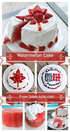 Watermelon Cake for Canada Day & of July .or anytime really! One of our fav dessert recipes for family gatherings Easy Desserts, Delicious Desserts, Dessert Recipes, Yummy Food, Healthy Desserts, Patriotic Desserts, Healthy Cake, Fruit Recipes, Christmas Desserts