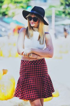 Anthom skirt, Reformation crop top, Rag and Bone hat, Karen Walker sunglasses