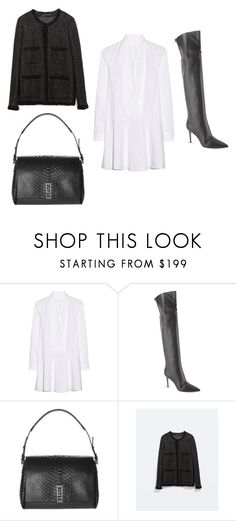 """""""shirt dress."""" by charlieandfog ❤ liked on Polyvore featuring Thakoon Addition, Gianvito Rossi, Proenza Schouler, Zara, outfit, shirtdress, whitedress and minimalism"""