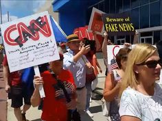 Americans Protest 'Very Fake News' CNN Outside of Atlanta Headquarters - Breitbart