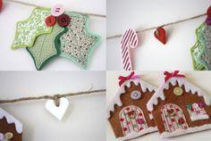 Handmade Christmas Garland - felt and fabric.