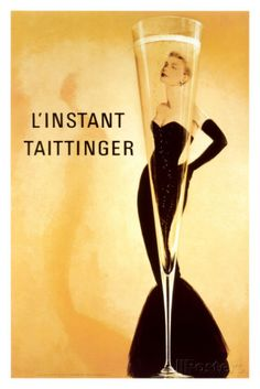 Taittinger a French wine house, raises a toast to Grace Kelly in this promotional poster. After appearing on the cover of Vogue, Tattinger's posters were considered works of art.