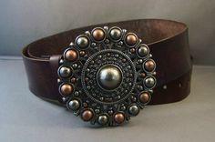 Vintage Brown Leather Belt Metal Beaded Flower  by 4MLeatherDesign, $72.00