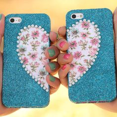 """iLovetoCreate®  Best Friends Phone Cases #glitter #craft """"Check out my other pins as guest pinner for @FaveCrafts this month!"""""""