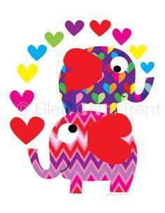 Valentines Art Print- Chevron elephants with hearts- kids wall art