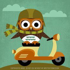 58R Retro Owl on Vespa 6x6 Print por leearthaus en Etsy