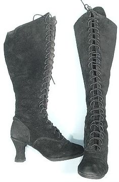 """c. 2002 Black Suede Lace Up Boots worn by """"Suzie"""" from the """"Cellblock"""" Dance Number in the Oscar Winning Best Movie of the Year, """"Chicago"""""""