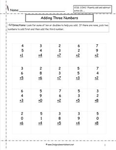 math worksheet : addition worksheet  column addition  three single digit  : Simple Column Addition Worksheets