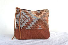 Native Vintage Carpet and Brown Leather Pouch $32  by arebycdesign on etsy