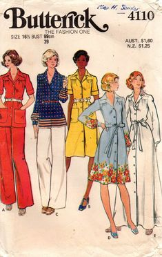 f5b224c09ee4 Butterick 4110 Womens Half Sized Dress Top   Pants 70s Vintage Sewing  Pattern Size 16 1