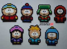 South Park characters hama bead by Melty Bead Patterns, Hama Beads Patterns, Beading Patterns, South Park, Perler Beads, Fuse Beads, Pixel Art Grid, Hama Beads Design, Beadwork Designs