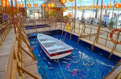 Boats and fishes in the middle of The Curve mall! Chinese New Year Decorations, New Years Decorations, 2015 Chinese New Year, Mid Autumn, Shopping Mall, Boats, Middle, Outdoor Decor, Travel