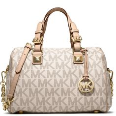 MICHAEL Michael Kors Medium Grayson Logo Satchel ($298) ❤ liked on Polyvore