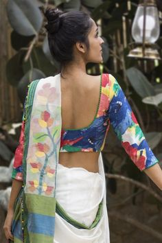 Buy Designer Blouses online, Custom Design Blouses, Ready Made Blouses, Saree Blouse patterns at our online shop House of Blouse from India. Blouse Back Neck Designs, Saree Blouse Designs, Sari Blouse, Indian Attire, Indian Ethnic Wear, Indian Outfits, Indian Clothes, Saree Jackets, House Of Blouse