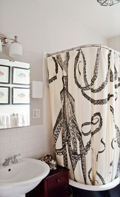 vintage octopus shower curtain | octopus shower curtains, vintage