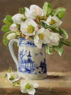 White Helebores, oil on board, by Anne Cotterill at Thompson's Gallery Acrylic Flowers, Oil Painting Flowers, Watercolor Flowers, Painting & Drawing, Watercolor Paintings, Art Flowers, Art Floral, Flower Artists, Christmas Paintings