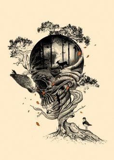 skull skulls nature animals birds deer wild forest tree illustration art collaboration Illustration