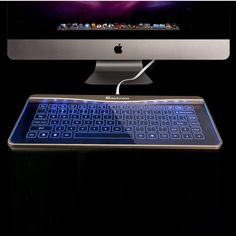 HOLY SHIT-BALLS! What a freakin' cool looking keyboard. | Bastron glass touch smart keyboard