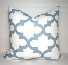 Blue & White Moroccan Geometric Print Pillow Covers Decorative Throw Pillow Covers All Sizes