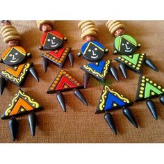 Buy Terracotta Wall Hangings Set Of 4 online. authentic products H Terracotta Jewellery Designs, Terracota Jewellery, Clay Crafts, Diy And Crafts, Arts And Crafts, Craft Activities For Kids, Crafts For Kids, Diy Diwali Decorations, Indian Crafts