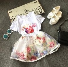 Online Cheap Girls Flower Printed Sets 2015 Summer Korean Kids Clothes Children Casual Open Shoulder T Shirt Tops + Floral Tulle Short Skirt By Leelee_709 | Dhgate.Com
