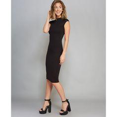 Crew Neck Midi Bodycon Dress ($27) ❤ liked on Polyvore featuring dresses, black, body conscious dress, short sleeve midi dress, wet seal dresses, mid calf dresses and calf length black dress