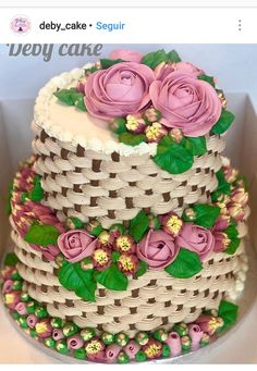 Wedding Cakes with Buttercream Roses Cake Basket, Snowman Cake, Christmas Cake Pops, Lime Cake, Pretty Wedding Cakes, Decadent Cakes, Dessert Decoration, Cake Decorating Tutorials, Holiday Cakes