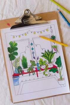 Bohemian Home Coloring Book Page by Katie Harvey #freeprintable