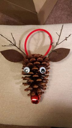 Pine Cone Rudolph the Red Nosed Reindeer (6.00 USD) by SeaShellsByCarrie