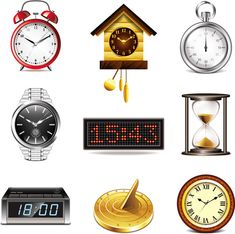 realistic clocks watches icons set