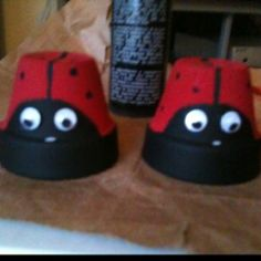Ladybugs that I made from mini-planting pots