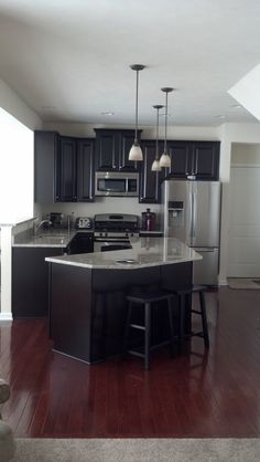 Dark Cabinets And Dark Flooring Home And Remodeling Ideas