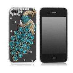 SODIAL(WZ.) Diamant Luxus Schutztasche Handyhuelle Schutzschale Etui Haut fuer iPhone 4 & 4S, 3D Pfau Diamant: Amazon.de: Elektronik