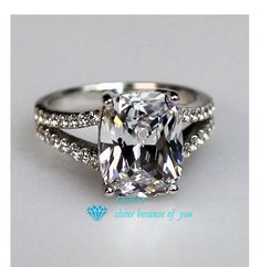 Stamped pt950 CEBTY Brand 2 Carat Cushion Cut Synthetic Diamond ...