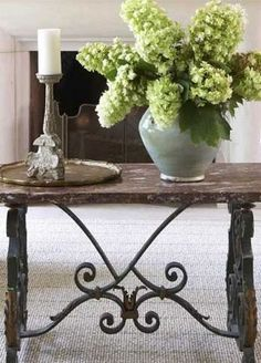 French Country Home : Versatile Iron Trestle Base Table, Fresh Flowers, Candle