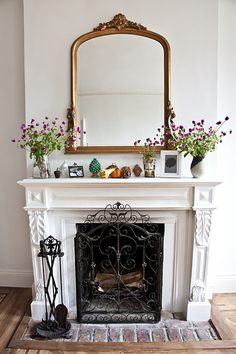 Great Free white Fireplace Screen Concepts Fireplace: white ornate mantel with old brick hearth. I've got more bricks than I know what to do Mirror Over Fireplace, White Fireplace, Fireplace Mantle, Fireplace Design, Fireplace Ideas, Fireplace Grate, Mantle Ideas, White Mantle, Fireplace Cover