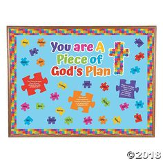 Jazz up your Sunday School classroom décor with colorful puzzle pieces! In fact, this set has everything you need to transform an entire bulletin board ...