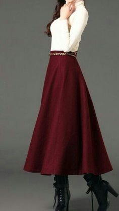 Wine red woman long winter wool dress plus size woolen dress wool skirt winter maxi skirt - S M L XL XXL This would make a great Christmas outfit! Winter Office Outfit, Office Outfits, Office Attire, Woolen Dresses, Wool Dress, Modest Outfits, Modest Fashion, Chic Outfits, Long Skirt Outfits