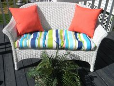 Incroyable Items Similar To Indoor / Outdoor Cushion 3 PC Set For Wicker Loveseat  Bench Settee  Bright Turquoise, Blue, Lime, Coral Stripe Cushion U0026 2 Coral  Pillows On ...