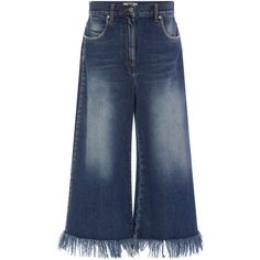 MSGM Fringed Hem High Rise Denim Culottes (755 CNY) ❤ liked on Polyvore featuring jeans, bottoms, pants and msgm