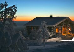 #LaplandChalet in sunset #LaplandFinland #LuxuryTravel