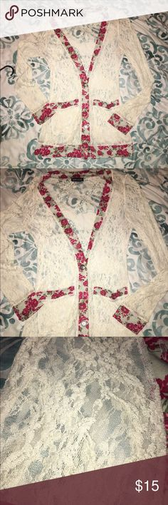 Wetseal lace flower shirt! This is a beautiful long sleeve lace shirt, in great condition. Wet Seal Sweaters