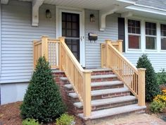 Wood Railing On Concrete Porch . Wood Railing On Concrete Porch . Front Porch Railings, Wood Railing, Front Porch Design, Stair Railing, Railing Ideas, Porch Columns, Porch Designs, Craftsman Style Exterior, Craftsman Porch