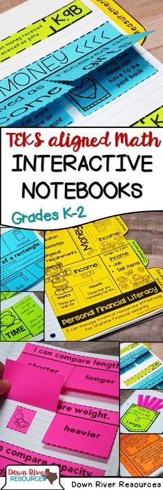 TEKS-aligned Math Interactive Notebooks | Kindergarten Math Interactive Notebook | First Grade Math Interactive Notebook | Second Grade Math Interactive Notebook | Interactive Notebook for Math | Math Folds and Flaps | Math Foldables | Texas Math TEKS