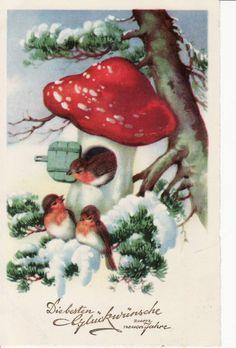 ROTKEHLCHEN am PILZ Häuschen - Schnee bedeckte Tanne - NEUJAHR - 1931   eBay